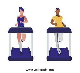 athletics couple running in electric treadmill tape