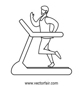 athletic man running in electric treadmill tape
