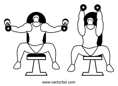 athletic men weight lifting in the gym