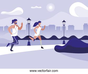 athletics couple running in the park
