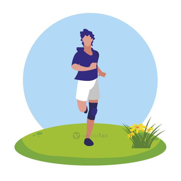 athletic man running in the camp