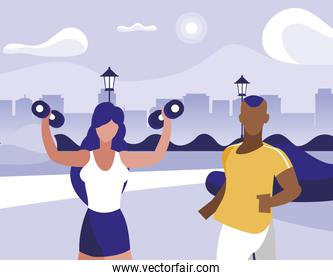 athletic afro man running and woman weight lifting in park