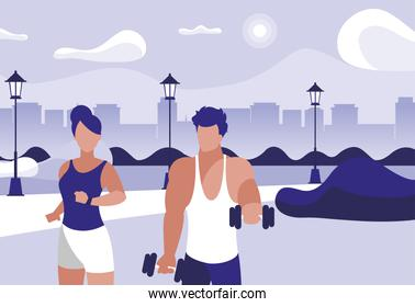 athletic man weight lifting and woman running in the park