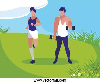 athletic man weight lifting and woman running in the camp