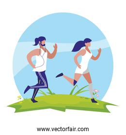 athletics couple running in the camp
