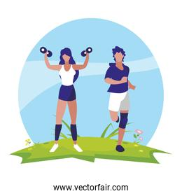 athletic man running and woman weight lifting in the camp
