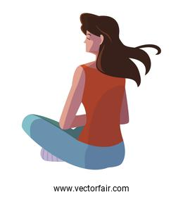 woman seated back character vector ilustration