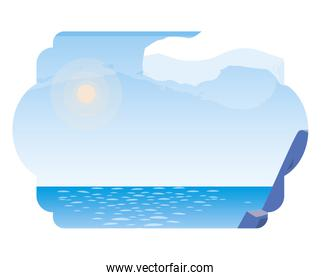 lake and mountains scene vector ilustration