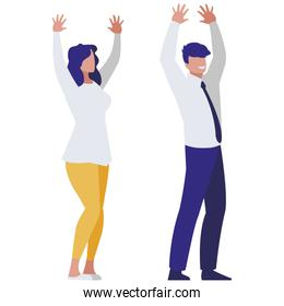 business couple avatars characters vector illustratio