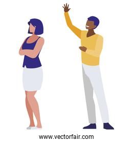 business couple interracial avatars characters