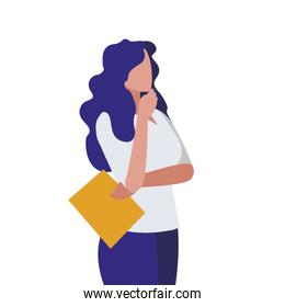 elegant businesswoman with documents vector illustratio