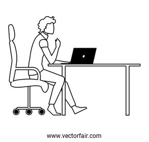 elegant businessman seated in office chair using laptop