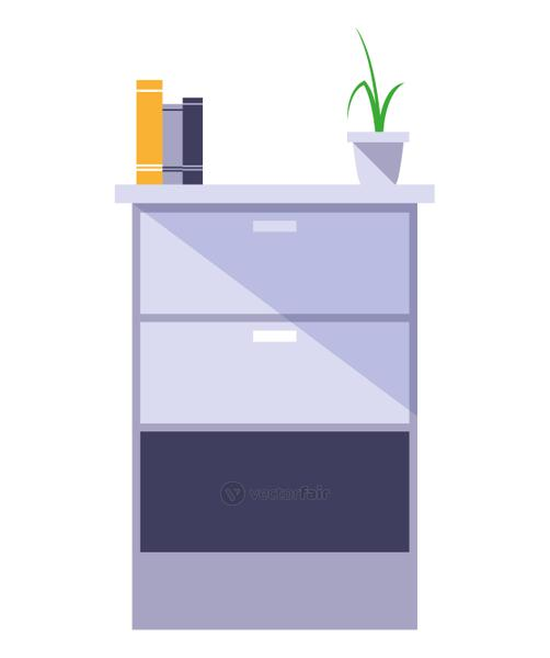 wooden drawer with books and plant vector illustratio