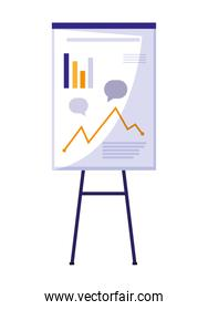 paperboard with statistics graphic vector illustratio