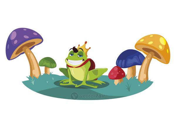 toad prince in fungus garden fairytale character
