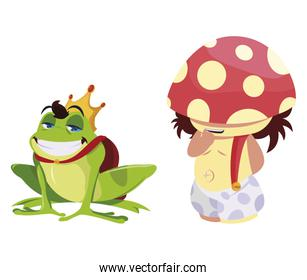 toad prince and fungu elf fairytale character