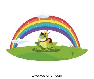 toad prince with rainbow fairytale character