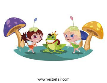 beautiful magic fairy with toad prince in the garden