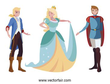 princes charming and princess of tales characters