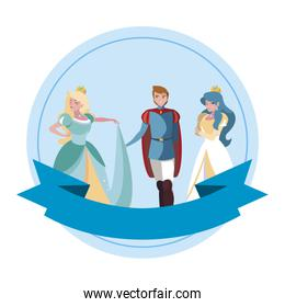 prince charming and two princess of tales characters