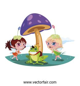beautiful magic fairies with toad prince in the garden