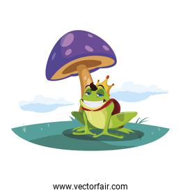toad prince in garden fairytale character