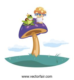 toad prince and fungu elf in garden