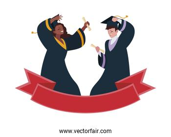 interracial couple students graduated celebrating with ribbon