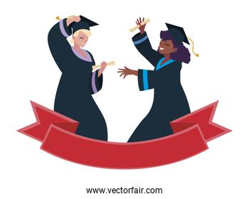 interracial women students graduated celebrating with ribbon