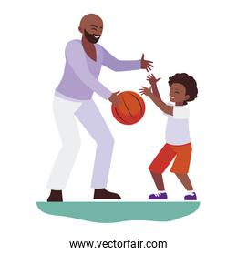 afro father playing basket ball with son characters