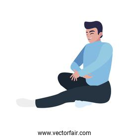 happy father seated relaxing character