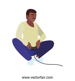 happy afro father playing with video game control