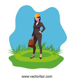 female engineer worker character on the lawn