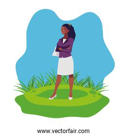 afro businesswoman on the lawn character