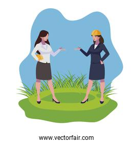 female engineers workers characters on the lawn