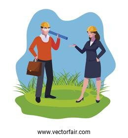 female engineer worker with architect on the lawn