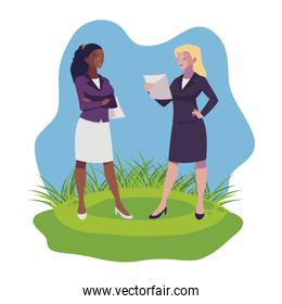 interracial businesswomen on the lawn characters