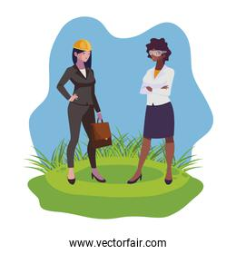 interracial female engineers workers characters on the lawn