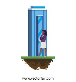 afro businesswoman with building character