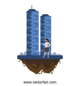 female engineer worker with building
