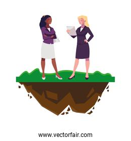 interracial businesswomen with building characters