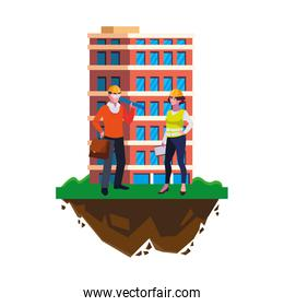 architect with female builder and building