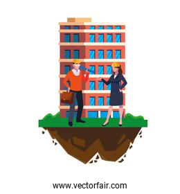 architect builder with female engineer and building