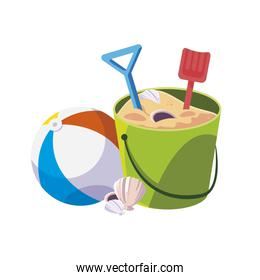 beach plastic balloon with sand bucket and shovels