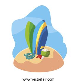 summer sand beach with surfboards and set icons