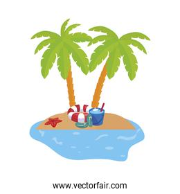 summer coastline scene with palms and float