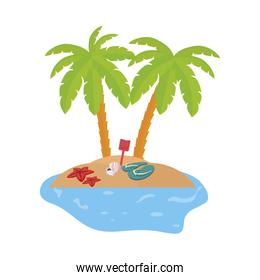 isolated summer coastline scene with palms and flip flops