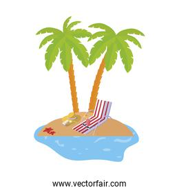 summer coastline scene with palms and chair