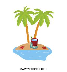 summer coastline scene with palms and water bucket