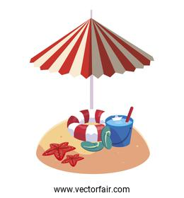 summer sand beach with umbrella and float